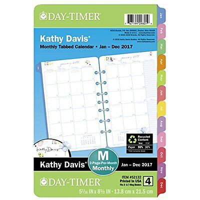 "Day-Timer Planner Refill 2017, 2 Page Per Month, 5-1/2 x 8-1/2"", Unruled, Desk S"