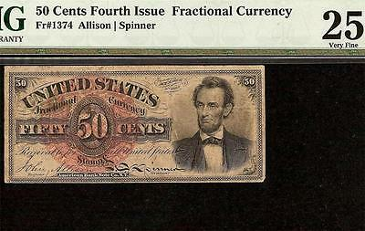 50 CENT LINCOLN FRACTIONAL CURRENCY 1869 -1874 UNITED STATES NOTE Fr 1374 PMG