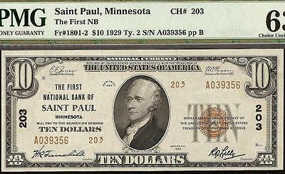 Unc 1929 $10 Dollar Bill Saint Paul Minnesota National Bank Note Currency Pmg 63