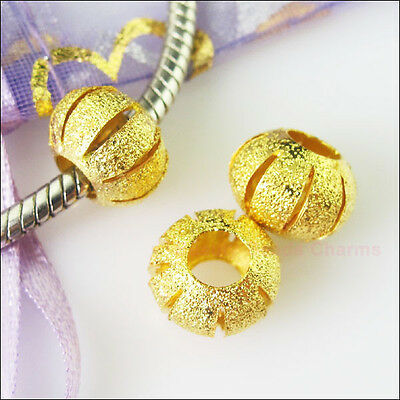 5Pc Gold Plated Round Stardust 5mm Hole Beads fit European Charm Bracelet 11.5mm