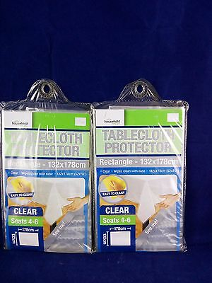 2 x Round Clear Plastic Table Cloth Cover PVC Tablecloth Protector Transparent