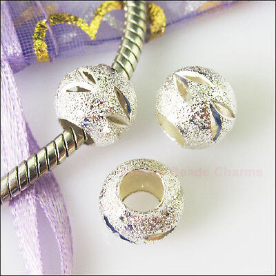 5Pc Silver Plated Round Stardust 5mm Hole Beads fit European Charm Bracelet 10mm