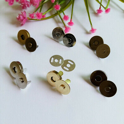 MAGNETIC CLOSURE FASTENER CLASP HANDBAG PURSE - METAL - 4 colours - 18mm 1-2pcs