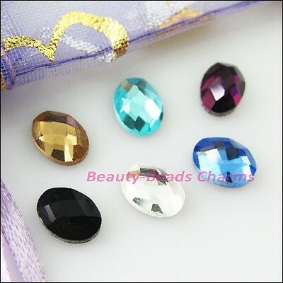 20Pcs Mixed Faceted Oval Glass Crystal Rhinestone Flat Back 5.5x7.5mm