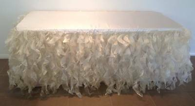 6ft Trestle Table Elegant WHITE Curly Willow Fancy Frilly Table Skirt With Top