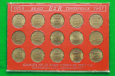 1953 to1967 Elizabeth II Threepence Year set Presented in Perspex Case SNo35552