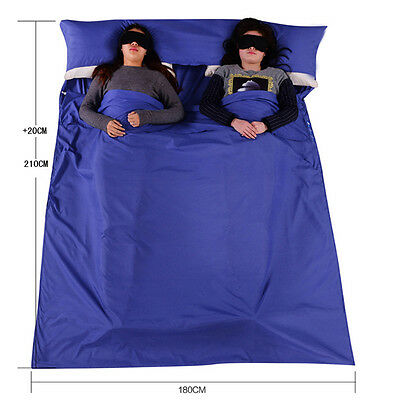Double Camping Envelope Twin Sleeping Bags Thermal Hiking Summer Compact Blue UK