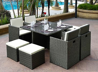 9pcs Rattan Cube Dining Sets Glass Table 4 Chair & Stool Garden Patio Furniture