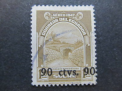 A4P47 Ecuador Air Post Stamp 1950 surch 90c on 1.90s used #92
