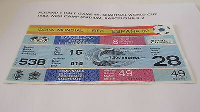 ORIGINAL ticket World Cup 1982 Game 49 POLAND v ITALY  Unused Semifinal