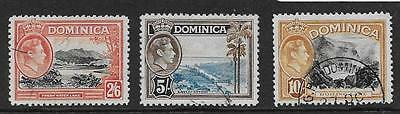 DOMINICA  SG 107/8a  TOP VALUES OF 1938/47 GVI SET   FINE USED
