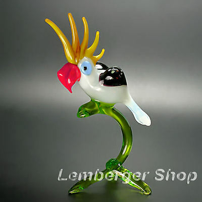 Figurine parrot handmade of COLORED GLASS 13 cm height NOT PAINTED Ornament Gift