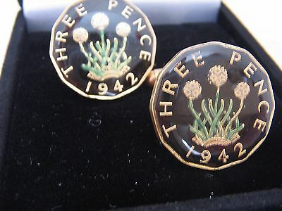 1942 George VI Enamelled Threepence Coin Cufflinks. Black/gold/colour. 75th B'dy