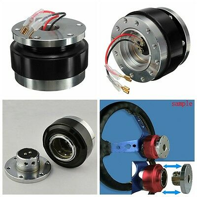Black Universal Car Steering Wheel Quick Release Hub Adapter Snap Off Boss Kit
