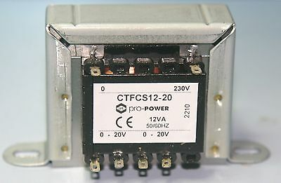 Transformer power mains 220V-230V-240V, 12VA , 2 x  20V at  300mA