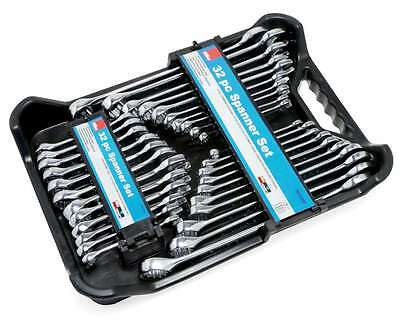 Hilka 32Pc Metric Af Drop Forged Stubby Combination Open Ring Spanner Wrench Set