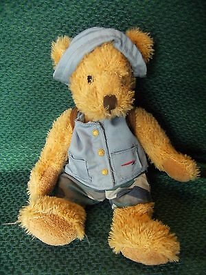"British Airways Russ Berrie  "" Wilbur "" hiking  Plush Teddy Bear 11"""