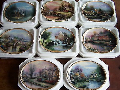 Thomas Kinkade Lot of 8 Lamplight Village Plates in Pristine Condition