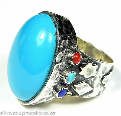 Genuine American Sleeping Beauty Turquoise 925 Sterling Silver Ring size 7-8