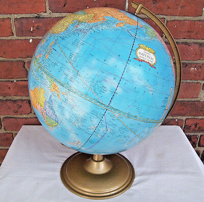 "1984 George Cram's Imperial World Rotating 12"" Diameter Globe Gold Metal Stand"