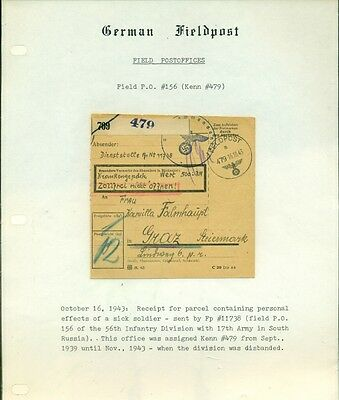 Germany Wwii 1943 Fieldpost Official Parcel Card Vf