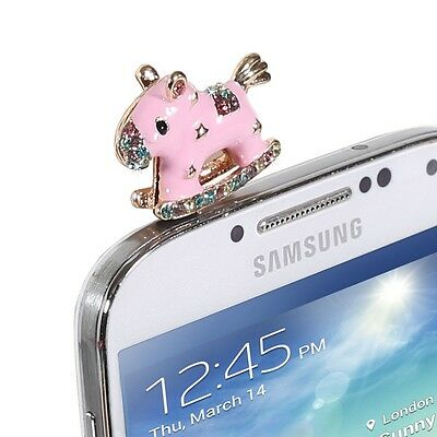 3.5mm Cute Bling Crystal Rhinestone Pink Rocking Horse Anti Dust Plug Cap Cover