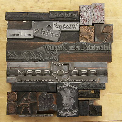 Massive Lot 21 Letterpress Pieces Vintage Printers Type Graphic Blocks Lead Wood