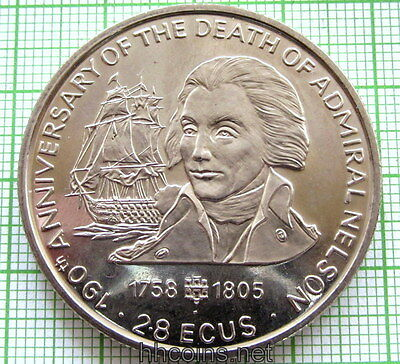 GIBRALTAR 1995 2.8 ECUS, 190th ANNIV ADMIRAL NELSON DEATH, SAILING SHIP, BU
