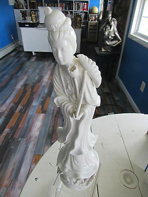 Vintage Porcelain Guanyin Statue White Figurine by Andrea by Sadek Oriental