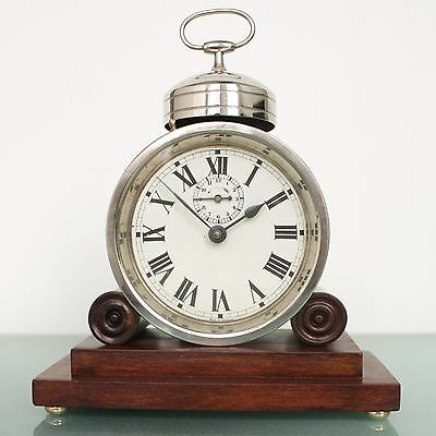 MUHLHEIM Alarm UNUSUAL TOP Clock Antique Mantel Germany 1920s Mantel RARE Shelf!