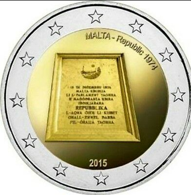 "2 euro commémorative 2015 Malte - Malta ""Republique de 1974"""