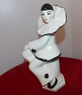"Art Deco Harlequin Clown Pierrot Ceramic Figurines 10""T Care Inc. 1979 Vintage"