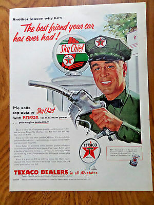 1955 Texaco Gas Oil Ad Service Station Attendant Best Friend Your Car ever Had