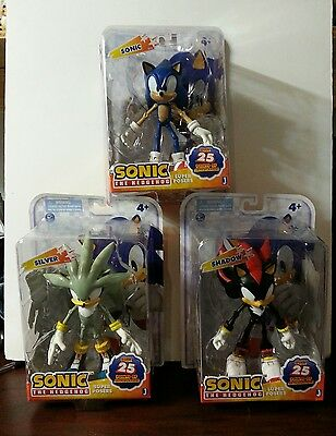 """7""""Super Posers - Sonic The Hedgehog Lot of 3- Figures - SONIC, SILVER AND SHADOW"""