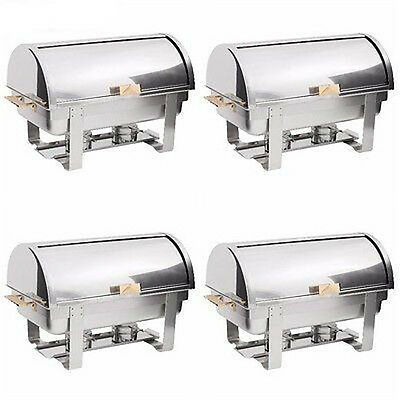 4 PACK Roll Top Stainless Steel DELUXE Chafer Chafing Dish Sets 8 QT Full Size