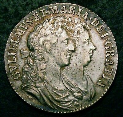 1689 AEF William and Mary Half Crown ESC 510 CGS 55  ☆☆☆ Spink £2750 EF ☆☆☆