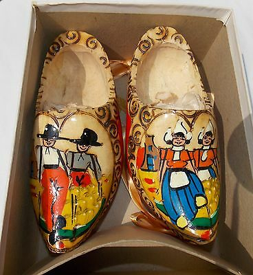 Vintage Genuine Dutch Holland Carved Solid Wood Wooden Shoes Clogs Wall Decor
