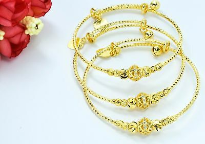 Gold Plated Charm Bangle Set Indian Bollywood Jewellery Wedding Jewelry Asian