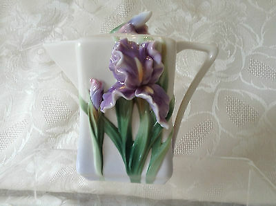 Franz Porcelain Purple Iris Demi Tasse Teapot Perfect Condition  Kept In Cabinet