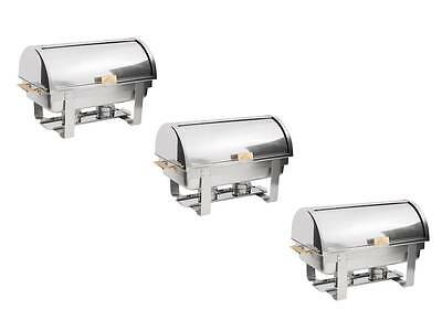 3 PACK Roll Top Stainless Steel DELUXE Chafer Chafing Dish Sets 8 QT Full Size