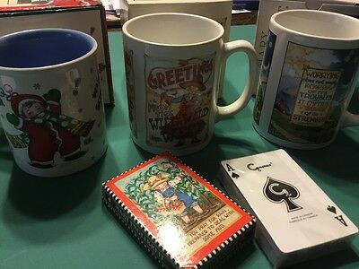 Mary Engelbreit Decorative Mugs And Playing Cards Collectors Lot