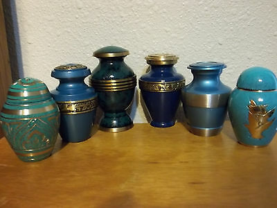 6 Different Brass Keepsake Mini Urns~Slightly Imperfect~SAVE 50%~Turquoise/Teal