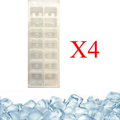 4 x ICE CUBE TRAY CLEAR PLASTIC ICE CUBE MAKER 56 CUBES GOOD QUALITY NEW UK