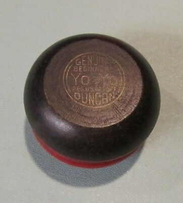 "Vintage Black and Red Duncan Genuine Beginners Yo-Yo 2"" Diameter All Wood"