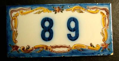 "Antique Cobalt Blue With Flowers Address Tile-Made In Portugal ""#89"""