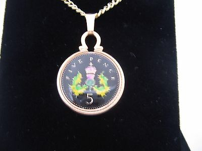 2000 Enamelled 5p Coin Pendant. Black/gold/colours. 17th Birthday/Anniversary