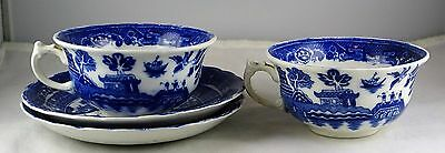 Two Allerton Blue Willow English China Cup & Saucer Sets