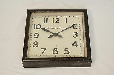 1940s VINTAGE CAMERER CUSS & CO SQUARE ELECTRIC INDUSTRIAL FACTORY WALL CLOCK