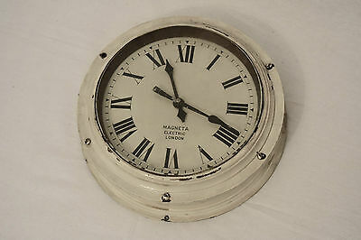 "1920s VINTAGE MAGNETA ELECTRIC 10"" BRASS INDUSTRIAL BULKHEAD WALL CLOCK"