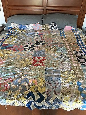 "Vintage Feed Sack Hand Set Sampler Hodge Pudge Quilt Top 63""x72"" Twin"